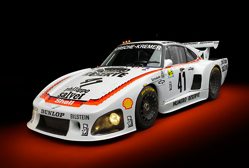 AUT 13 RK0411 01 © Kimball Stock 1979 Porsche 935 K3 Le Mans Winner White 3/4 Front View In Studio