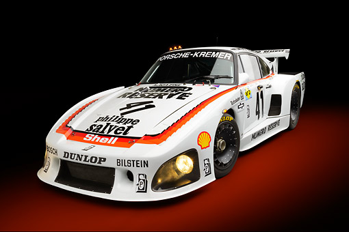AUT 13 RK0412 01 © Kimball Stock 1979 Porsche 935 K3 Le Mans Winner White 3/4 Front View In Studio