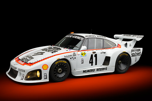 AUT 13 RK0414 01 © Kimball Stock 1979 Porsche 935 K3 Le Mans Winner White 3/4 Side View In Studio