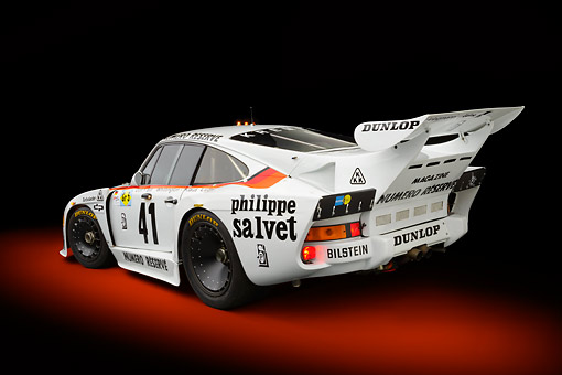 AUT 13 RK0415 01 © Kimball Stock 1979 Porsche 935 K3 Le Mans Winner White 3/4 Rear View In Studio