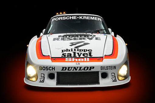 AUT 13 RK0417 01 © Kimball Stock 1979 Porsche 935 K3 Le Mans Winner White Front View In Studio