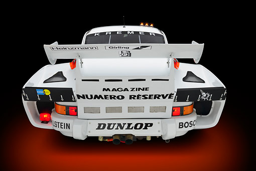 AUT 13 RK0418 01 © Kimball Stock 1979 Porsche 935 K3 Le Mans Winner White Rear View In Studio