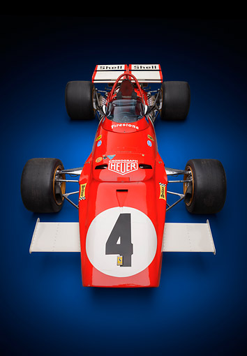 AUT 13 RK0419 01 © Kimball Stock 1970 Ferrari 312B Race Car Red Front Overhead View In Studio