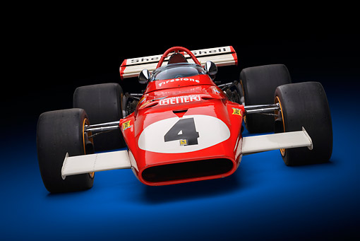 AUT 13 RK0420 01 © Kimball Stock 1970 Ferrari 312B Race Car Red Front View In Studio