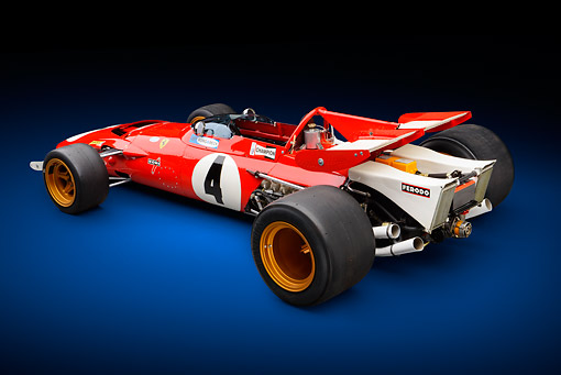 AUT 13 RK0428 01 © Kimball Stock 1970 Ferrari 312B Race Car Red 3/4 Rear View In Studio