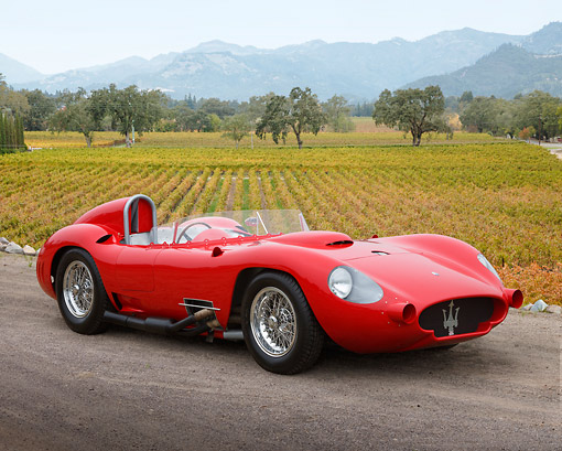 AUT 13 RK0430 01 © Kimball Stock Maserati Race Car Red 3/4 Front View On Gravel By Vineyard