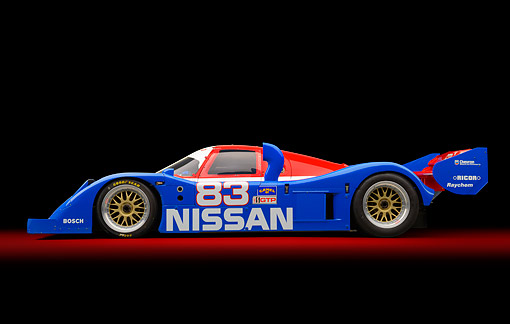 AUT 13 RK0436 01 © Kimball Stock 1992 Nissan GTP ZX-Turbo Race Car Blue And Red Profile View In Studio