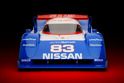 AUT 13 RK0438 01 © Kimball Stock 1992 Nissan GTP ZX-Turbo Race Car Blue And Red Front View In Studio