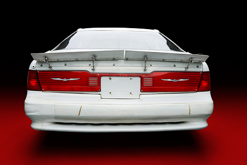 AUT 13 RK0445 01 © Kimball Stock 1988 Ford Thunderbird Race Car White With Graphics Rear View In Studio
