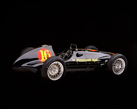 AUT 13 RK0011 02 © Kimball Stock 1940's Pennzoil Special Racing Car Black 3/4 Rear View Studio