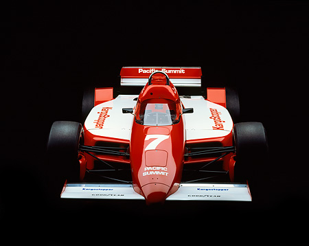 AUT 13 RK0014 05 © Kimball Stock 1985 Lola Cosworth Indy Race Car Red And White Head On Studio