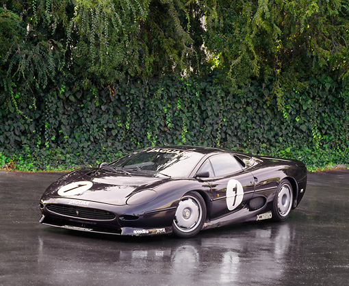 AUT 13 RK0027 07 © Kimball Stock Black Jaguar XJ220 Race Car