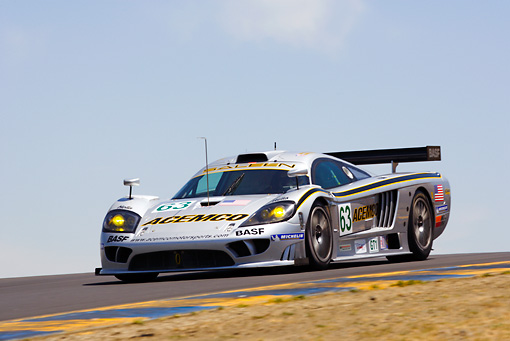AUT 13 RK0072 01 © Kimball Stock Saleen S7R Silver Race Car 3/4 Front View On Track