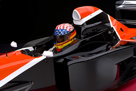 AUT 13 RK0138 01 © Kimball Stock 2006 Mazda Pro Formula Black Orange And White Close Up With Driver