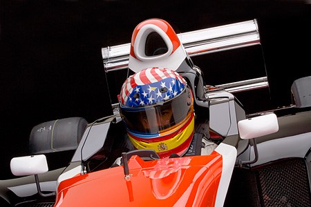 AUT 13 RK0140 01 © Kimball Stock 2006 Mazda Pro Formula Black Orange And White Close Up With Driver Studio