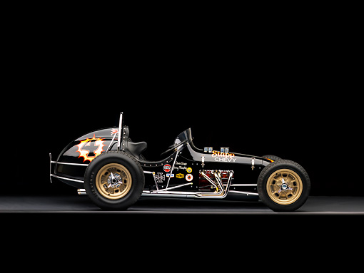 AUT 13 RK0182 01 © Kimball Stock 1965 Stapp Sprint Car Black And Gold Profile View Studio