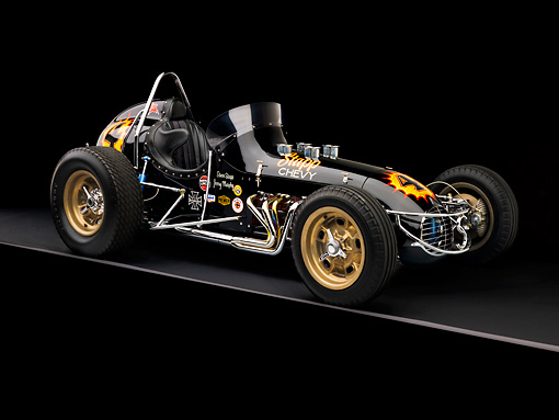 AUT 13 RK0183 01 © Kimball Stock 1965 Stapp Sprint Car Black And Gold 3/4 Side View Studio