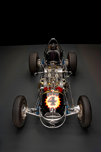 AUT 13 RK0185 01 © Kimball Stock 1965 Stapp Sprint Car Black And Gold Overhead Front View Studio