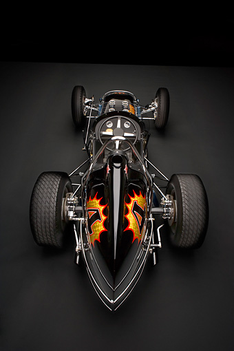 AUT 13 RK0190 01 © Kimball Stock 1965 Stapp Sprint Car Black And Gold Overhead Rear View Studio