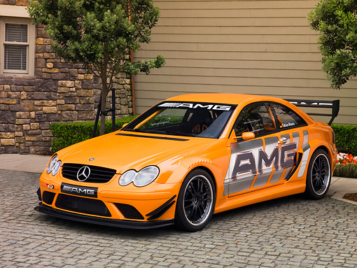 AUT 13 RK0194 02 © Kimball Stock 2007 Mercedes-Benz CLK DTM 6.3 AMG Race Car Orange Coupe 3/4 Front View On Pavement