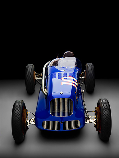 AUT 13 RK0221 01 © Kimball Stock 1938 Sparks-Thorne Indy 500 Race Car Blue Head On View Studio