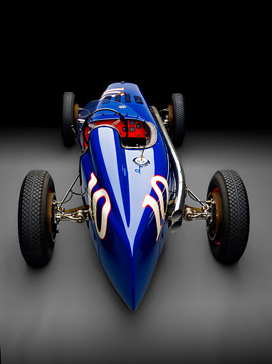AUT 13 RK0222 01 © Kimball Stock 1938 Sparks-Thorne Indy 500 Race Car Blue Rear View Studio
