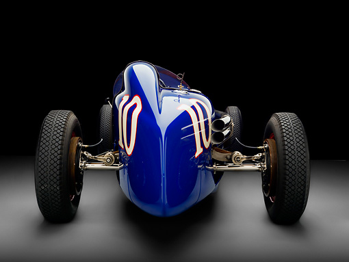 AUT 13 RK0223 01 © Kimball Stock 1938 Sparks-Thorne Indy 500 Race Car Blue Rear View Studio