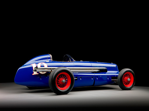 AUT 13 RK0224 01 © Kimball Stock 1938 Sparks-Thorne Indy 500 Race Car Blue 3/4 Rear View Studio