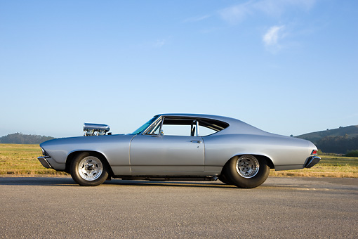 AUT 13 RK0242 01 © Kimball Stock 1968 Chevrolet Chevelle Dragster Silver Profile View By Field