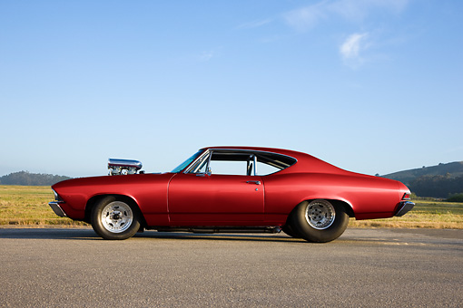 AUT 13 RK0244 01 © Kimball Stock 1968 Chevrolet Chevelle Dragster Red Profile View By Field