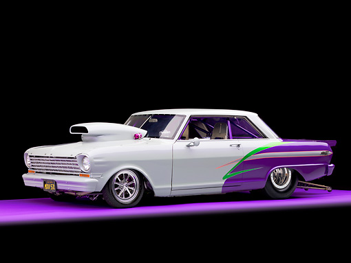 AUT 13 RK0245 01 © Kimball Stock 1963 Chevrolet Nova Dragster Gray & Purple 3/4 Front View Studio