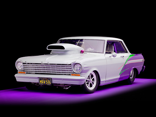 AUT 13 RK0246 01 © Kimball Stock 1963 Chevrolet Nova Dragster Gray & Purple 3/4 Front View Studio