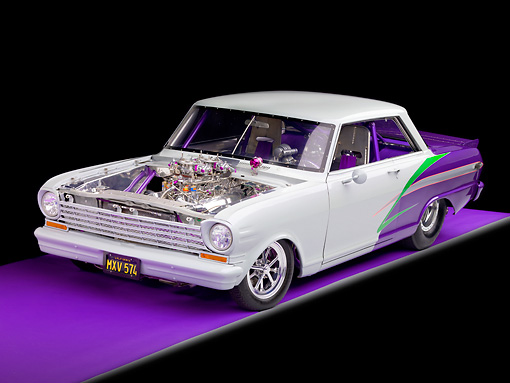 AUT 13 RK0247 01 © Kimball Stock 1963 Chevrolet Nova Dragster Gray & Purple 3/4 Front View Studio