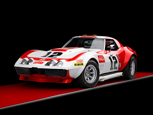 AUT 13 RK0250 01 © Kimball Stock 1968 Owens/Corning Chevrolet Corvette Race Car White & Red 3/4 Front View Studio