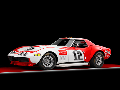 AUT 13 RK0251 01 © Kimball Stock 1968 Owens/Corning Chevrolet Corvette Race Car White & Red 3/4 Front View Studio