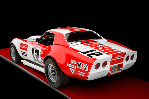 AUT 13 RK0255 01 © Kimball Stock 1968 Owens/Corning Chevrolet Corvette Race Car White & Red 3/4 Rear View Studio
