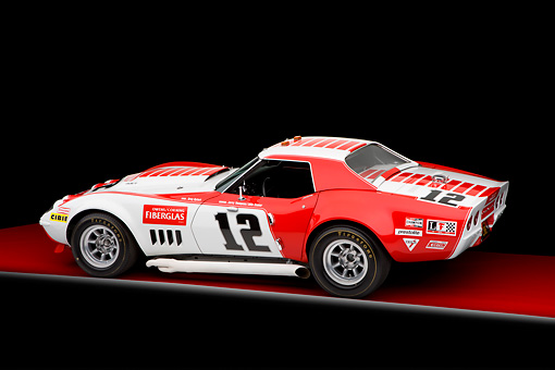 AUT 13 RK0256 01 © Kimball Stock 1968 Owens/Corning Chevrolet Corvette Race Car White & Red 3/4 Rear View Studio