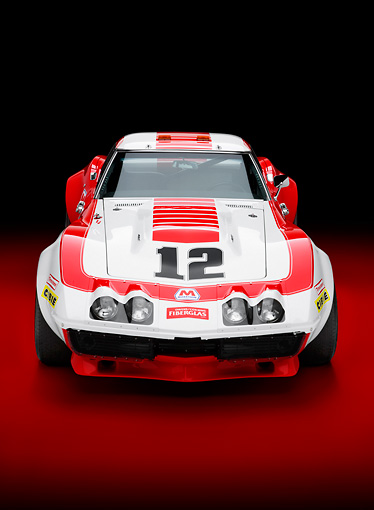 AUT 13 RK0258 01 © Kimball Stock 1968 Owens/Corning Chevrolet Corvette Race Car White & Red Head On View Studio