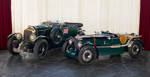 AUT 13 RK0265 01 © Kimball Stock 1929 Bentley Birkin Team Car And 1933 MG K3 Magnette Race Car Green 3/4 Front View Curtains