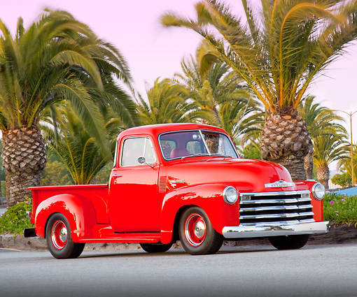 AUT 14 BK0035 01 © Kimball Stock 1951 Chevrolet 3100 Pickup Truck Red 3/4 Front View On Pavement By Marina
