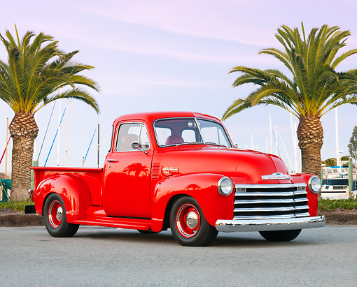 AUT 14 BK0036 01 © Kimball Stock 1951 Chevrolet 3100 Pickup Truck Red 3/4 Front View On Pavement By Marina