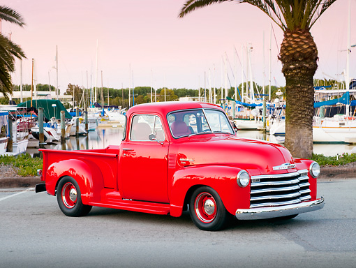 AUT 14 BK0037 01 © Kimball Stock 1951 Chevrolet 3100 Pickup Truck Red 3/4 Front View On Pavement By Marina