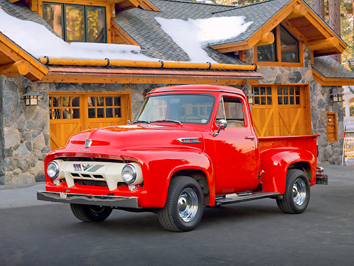 AUT 14 BK0047 01 © Kimball Stock 1954 Ford F-100 Pickup Truck Red 3/4 Front View On Pavement By Cabin