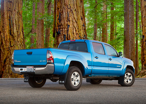 AUT 14 BK0071 01 © Kimball Stock 2011 Toyota Tacoma Double Cab Pickup Truck Blue 3/4 Rear View On Pavement By Redwood Trees