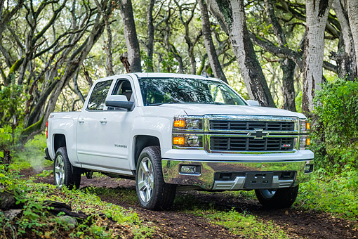 AUT 14 BK0107 01 © Kimball Stock 2015 Chevrolet Silverado 1500 Z71 4WD LTZ Crew Pickup White 3/4 Front View Driving Through Forest