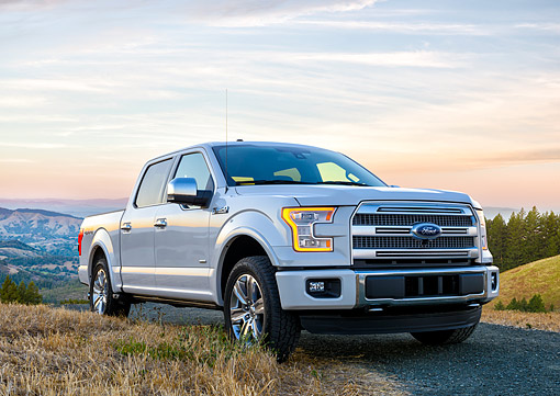AUT 14 BK0117 01 © Kimball Stock 2015 Ford F-150 Platinum 4x4 White 3/4 Front View By Grass And Hills
