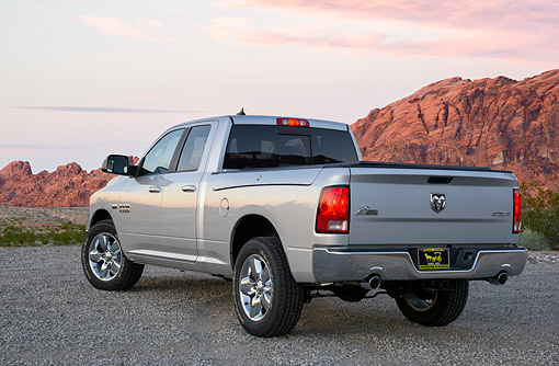 AUT 14 BK0125 01 © Kimball Stock 2016 Dodge Ram 1500 Hemi 5.7 Liter Silver 3/4 Rear View In Desert