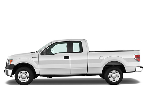 AUT 14 IZ0070 01 © Kimball Stock 2010 Ford F-150 XL Supercab Pickup Truck White Profile View Studio