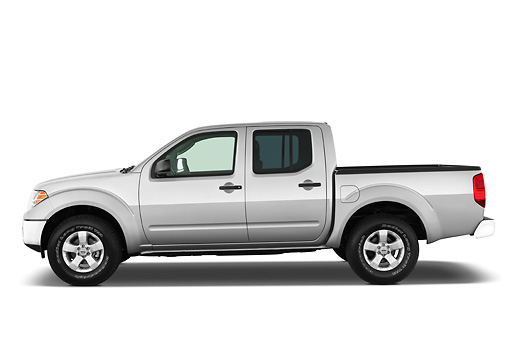 AUT 14 IZ0078 01 © Kimball Stock 2012 Nissan Frontier SE Crew Cab Pickup Truck Silver Profile View Studio