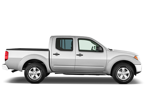 AUT 14 IZ0079 01 © Kimball Stock 2012 Nissan Frontier SE Crew Cab Pickup Truck Silver Profile View Studio